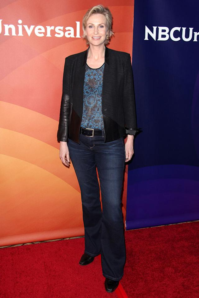 "Jane Lynch (""Hollywood Game Night"") attends the 2013 NBC Universal Summer Press Day held at The Langham Huntington Hotel and Spa on April 22, 2013 in Pasadena, California."