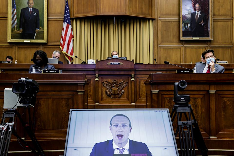 "Facebook CEO Mark Zuckerberg speaks via video conference during a hearing of the House Judiciary Subcommittee on Antitrust, Commercial and Administrative Law on ""Online Platforms and Market Power"", in the Rayburn House office Building on Capitol Hill, in Washington, U.S., July 29, 2020. Graeme Jennings/Pool via REUTERS"