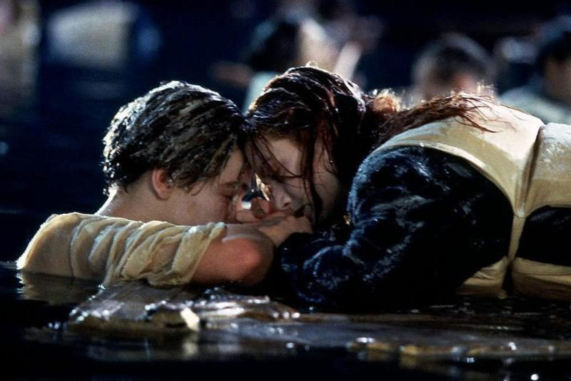 Never let go: DiCaprio with co-star Kate Winslet in the iconic scene