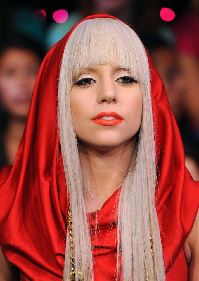 """FILE - In this Aug. 12, 2008, file photo Lady Gaga makes an appearance at MTV Studio's in Times Square for MTV's """"Total Request Live"""" show in New York. Lady Gaga and Tyler the Creator lead MTV's newly inaugurated O Music Awards with three nominations each,MTV announced Tuesday, April 5, 2011."""