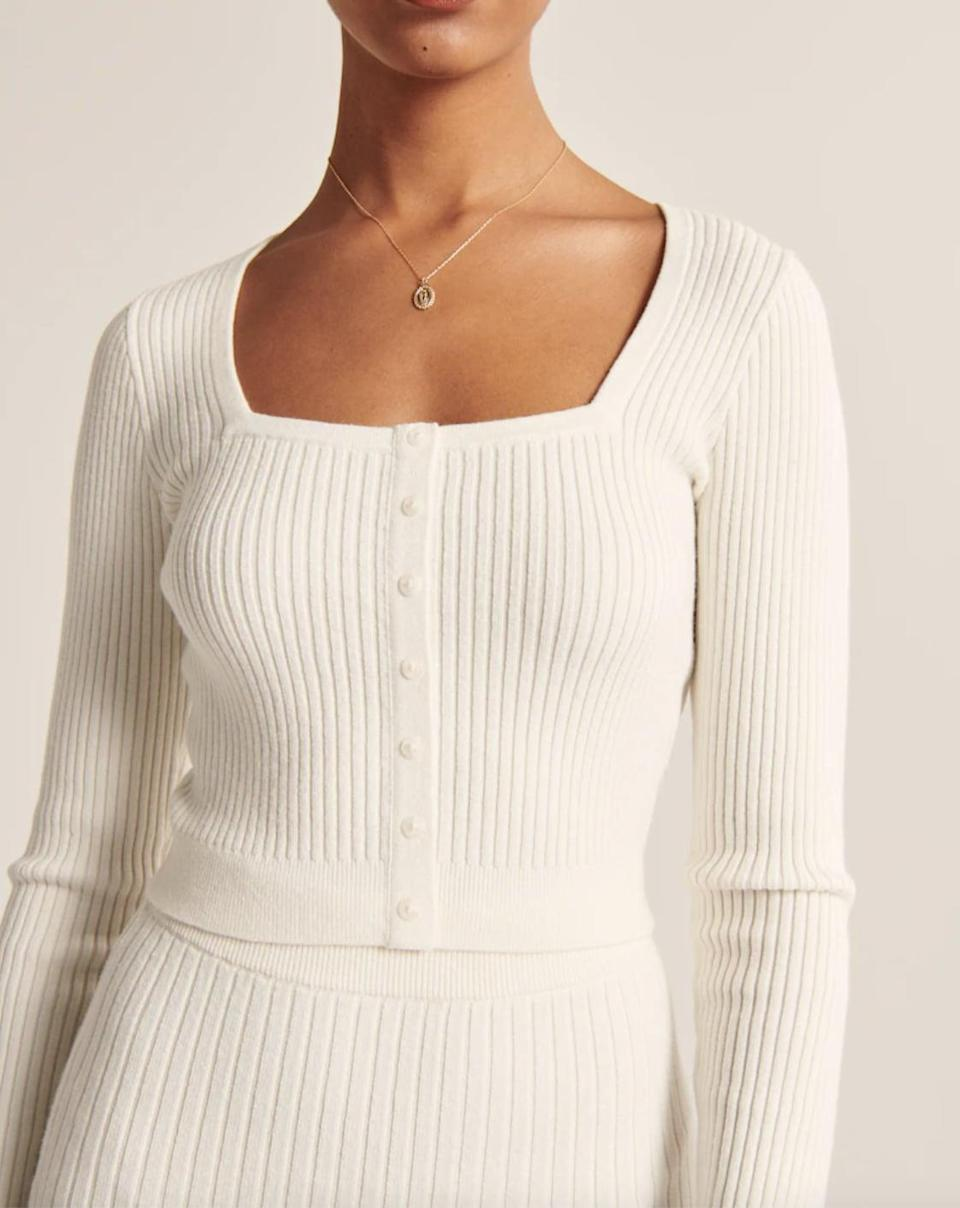 <p>We love a good <span>Abercrombie &amp; Fitch Ribbed Square-Neck Sweater</span> ($59).</p>