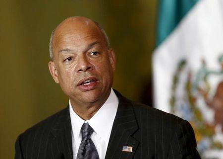 U.S. Department of Homeland Security Secretary Johnson gives speech to media next to Mexico's Finance Minister Videgaray as they announce a program of pre-inspection border stations during a news conference in Mexico City