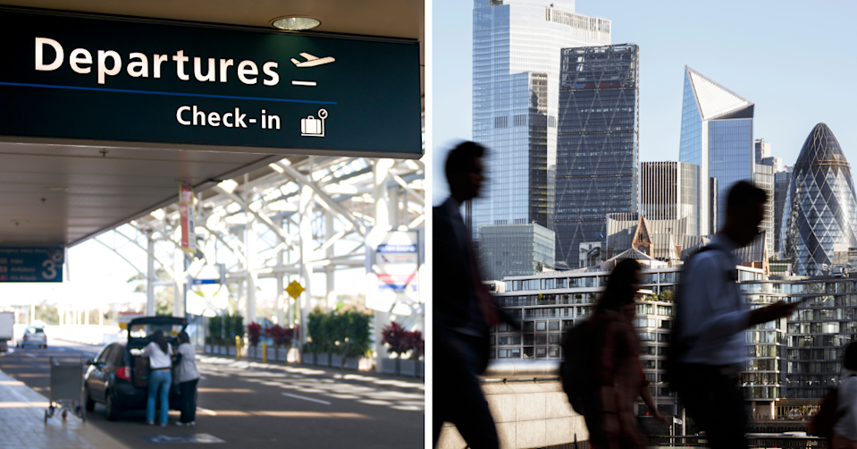 A departures sign at Sydney airport and workers walking in London