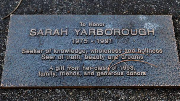 PHOTO: A memorial plaque is shown Jan. 12, 2012, in front of Federal Way High School in Federal Way, Wash., to honor the memory of Sarah Yarborough, who was a student at the school when she was killed in 1991 at the age of 16. (Ted S. Warren/AP)