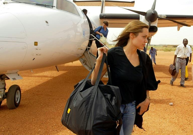 Angelina Jolie arrives in Sudan's Darfur in October 2004 as Goodwill Ambassador for the United Nations High Commission for Refugees