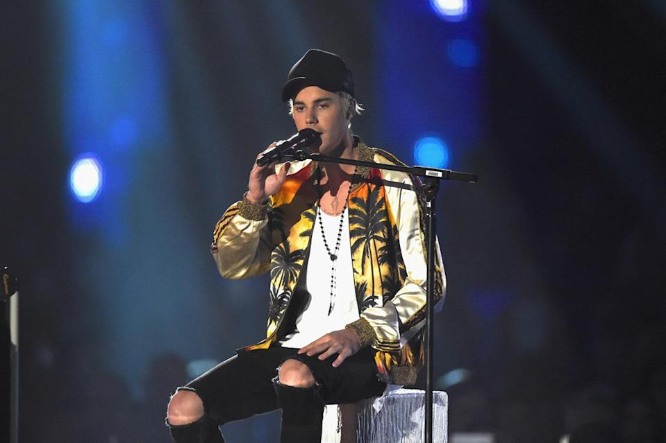<p>Another star who didn't walk the red carpet, Justin Bieber turned up in a summery Saint Laurent bomber jacket for his performance. <i>[Photo: Saint Laurent]</i></p>