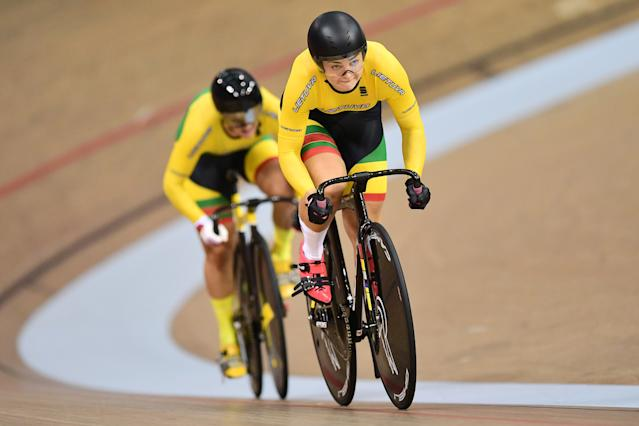 Migle Marozaite and Simona Krupeckaite of Lithuania ride in the Womens Team Sprint Qualifying
