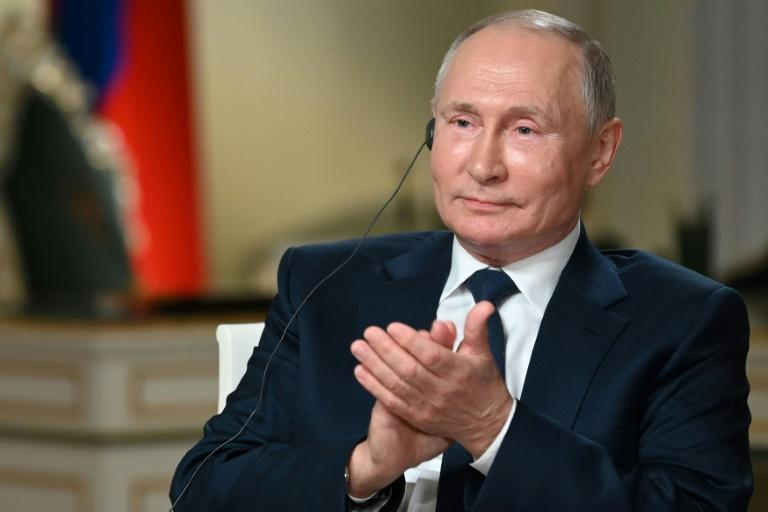 Russian President Vladimir Putin speaks with journalist of NBC News Keir Simmons in Moscow on June 11, 2021