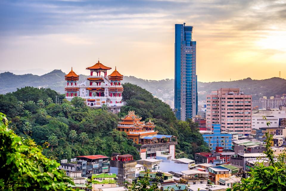 Keelung, Taiwan cityscape and temples at dusk. Photo: Getty
