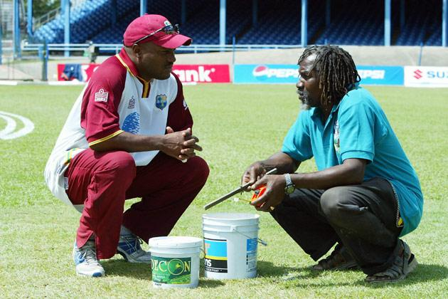 PORT OF SPAIN, TRINIDAD - MARCH 18:  West Indies Captain Brian Lara chats to the groundsman during the West Indies net practice before the Cable and Wireless 2nd Test match between West Indies and England at the Queen's Park Oval, on March 18 2004, in Port of Spain, Trinidad. (Photo by Ben Radford/Getty Images)