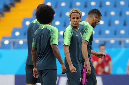 Soccer Football - World Cup - Brazil Training - Rostov Arena, Rostov-on-Don, Russia - June 16, 2018 Brazil's Neymar with Marcelo during training REUTERS/Marko Djurica