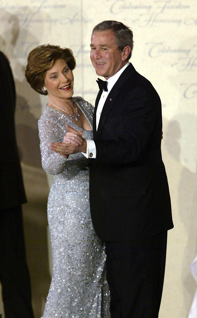 President Bush and first lady Laura Bush dance at the Freedom Ball during inauguration festivies in Washington Thursday, Jan. 20, 2005. (AP Photo/Paul Sancya)