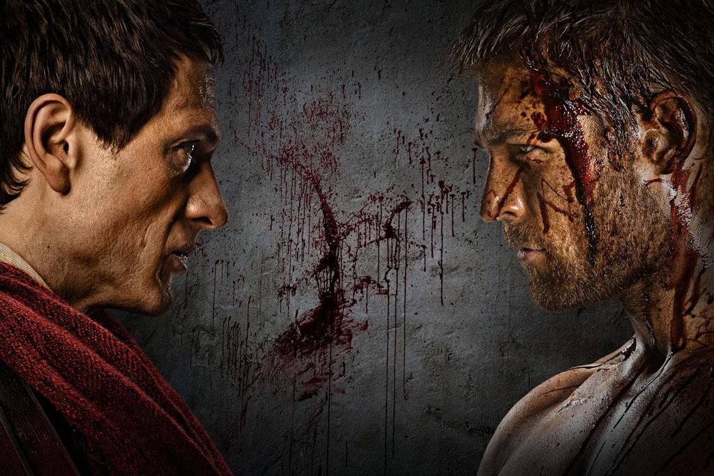 "Simon Merrells as Crassus and Liam McIntyre as Spartacus in ""Spartacus: War of the Damned"" on Starz."