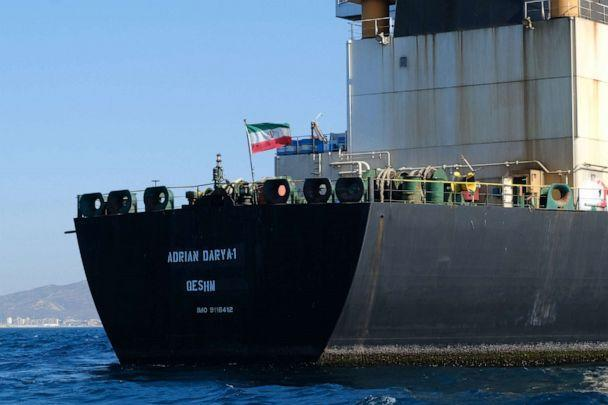 PHOTO: In this file photo taken on August 18, 2019, an Iranian flag flutters on board the Adrian Darya oil tanker, formerly known as Grace 1, off the coast of Gibraltar. (Johnny Bugeja/AFP/Getty Images, FILE)