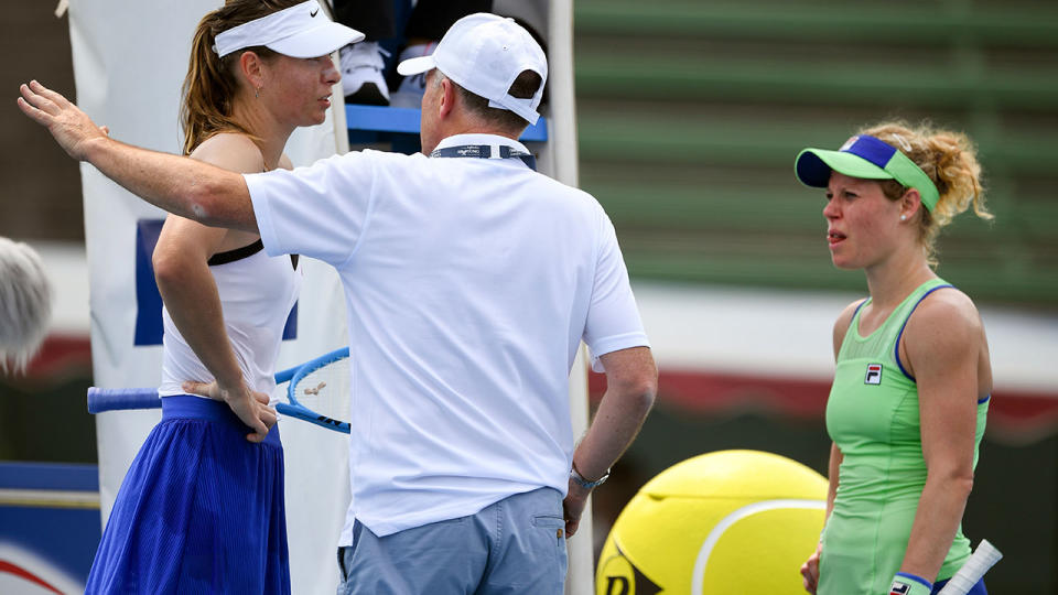 Maria Sharapova and Laura Siegemund, pictured here during their match at the Kooyong Classic.