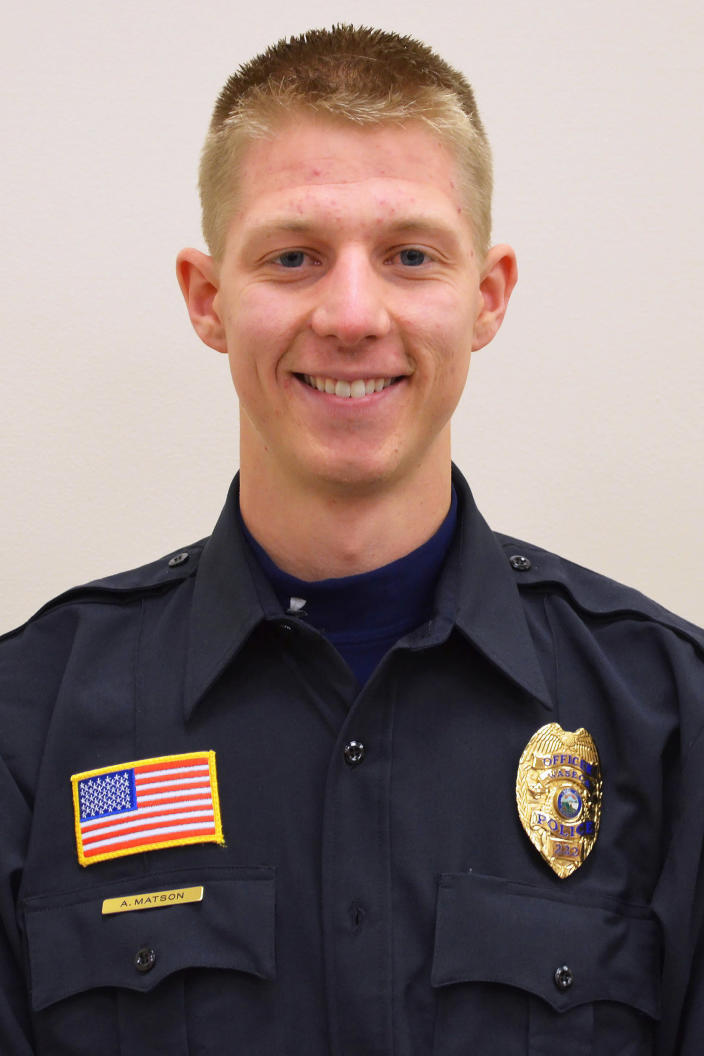 This undated handout photo provided by the Minnesota Bureau of Criminal Apprehension, shows Waseca, Minn. Police Officer Arik Matson. Matson was shot in the head Monday night, Jan. 6, 2020 while responding to a report of a suspicious person in the small southern Minnesota city of in Waseca. Matson, 32, was in critical but stable condition Tuesday. (Minnesota Bureau of Criminal Apprehension via AP)