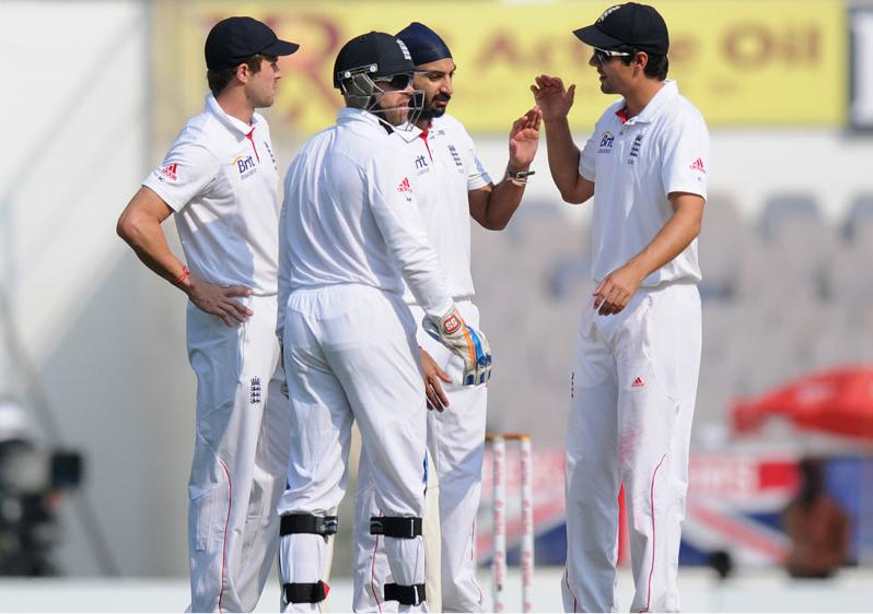 Monty Panesar celebrates after taking the wicket of Pragyan Ojha on Day 4 of the fourth cricket Test between India and England at the Jamtha   Stadium in Nagpur, Sunday, December 16, 2012. (c) BCCI