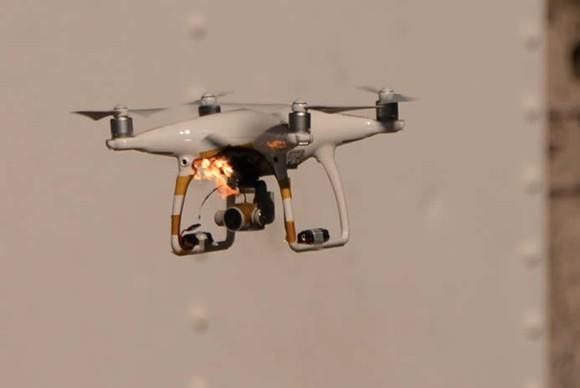 Quadcopter drone catching on fire