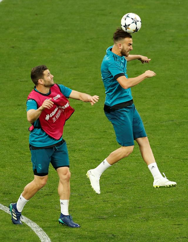 Soccer Football - Champions League Final - Real Madrid Training - NSC Olympic Stadium, Kiev, Ukraine - May 25, 2018 Real Madrid's Borja Mayoral and Nacho during training REUTERS/Andrew Boyers