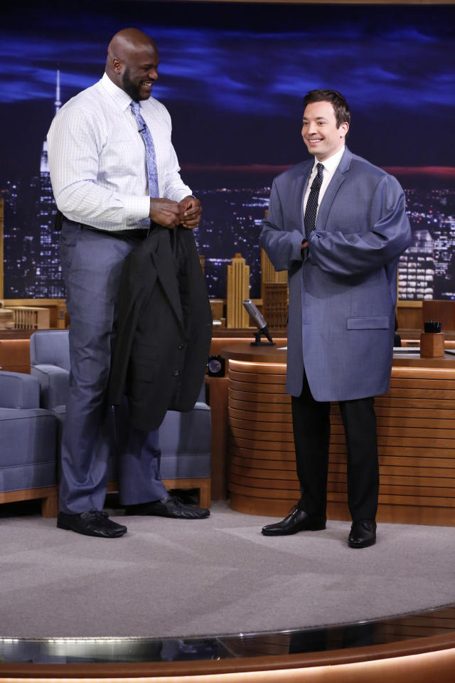 Shaquille O'Neal and Jimmy Fallon (Photo: Lloyd Bishop/NBC/NBCU Photo Bank)