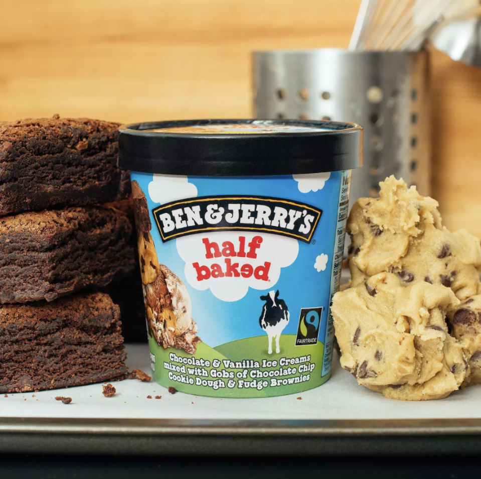 <p>Half Baked is the best of both worlds, with vanilla ice cream, chocolate ice cream, chocolate chip cookie dough, and fudge brownie pieces in every bite. You can never go wrong with it.</p>