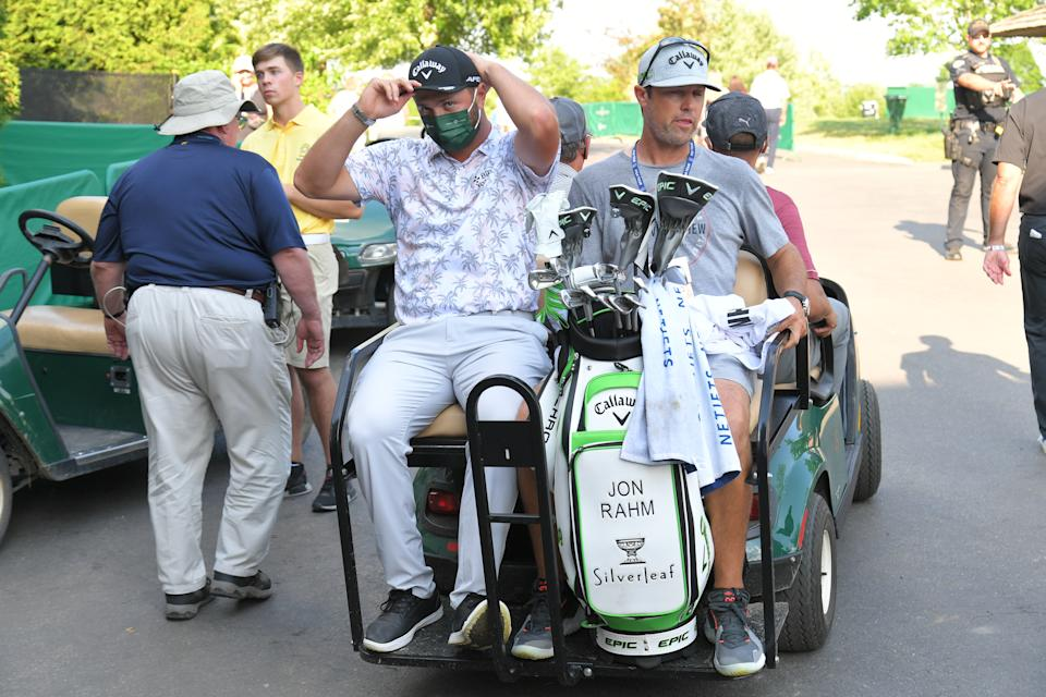 DUBLIN, OHIO - JUNE 05: Jon Rahm of Spain gets shuttled away after testing positive for COVID-19 after the third round of the Memorial Tournament presented by Nationwide at Muirfield Village Golf Club on June 5, 2021 in Dublin, Ohio. (Photo by Ben Jared/PGA TOUR via Getty Images)