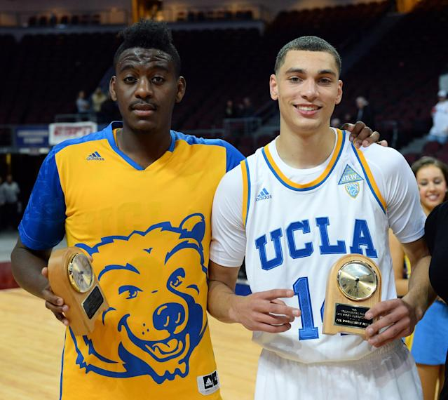 LAS VEGAS, NV - NOVEMBER 29: Jordan Adams #3 and Zach LaVine #12 of the UCLA Bruins hold all-tournament team awards after the Bruins defeated the Northwestern Wildcats 95-79 during the Continental Tire Las Vegas Invitational at the Orleans Arena on November 29, 2013 in Las Vegas, Nevada. (Photo by Ethan Miller/Getty Images)