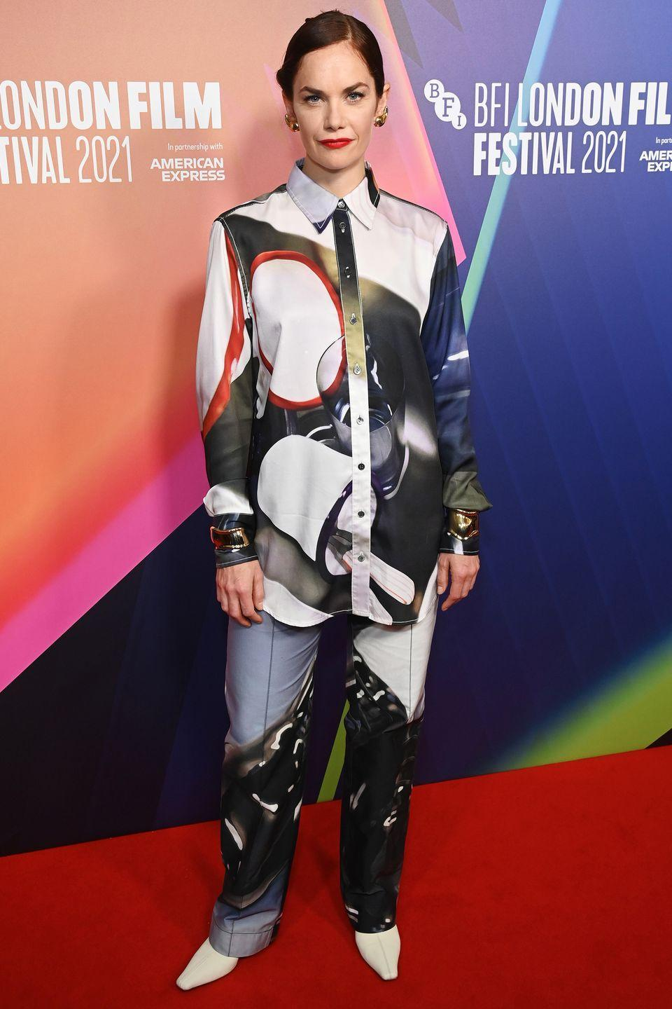 <p><strong>10 October</strong></p><p>Ruth Wilson mixed things up in a printed shirt and trousers for the premiere of True Things. </p>