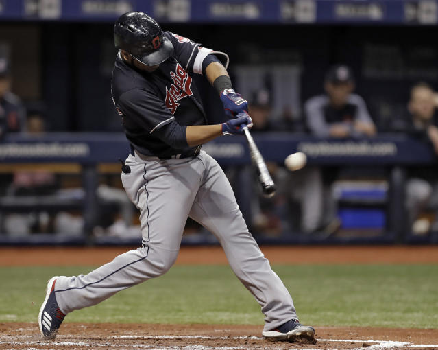 Cleveland Indians' Edwin Encarnacion doubles off Tampa Bay Rays pitcher Tyler Glasnow during the fourth inning of a baseball game Tuesday, Sept. 11, 2018, in St. Petersburg, Fla. (AP Photo/Chris O'Meara)