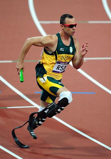 Oscar Pistorius in the Men's 4 x 400m Relay Final (Getty Images)