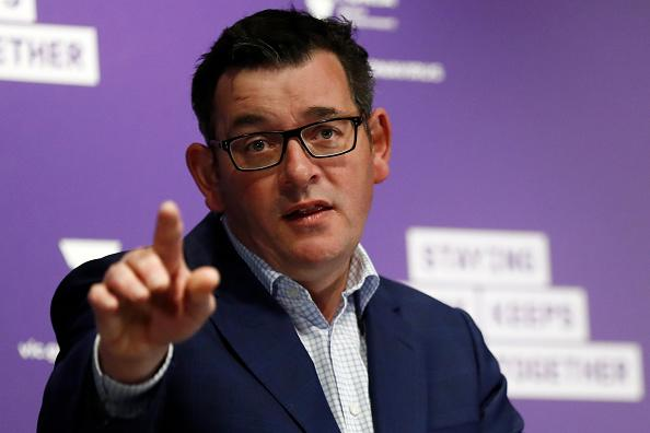 Victorian Premier Daniel Andrews speaks to the media at the daily briefing in Melbourne, Australia.