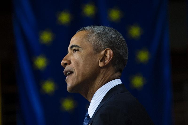 "US President Barack Obama argued that ""turning inward"" was not the answer to Europe's problems, as he delivered a keynote address during a visit to the German city of Hanover, on April 25, 2016 (AFP Photo/Jim Watson)"