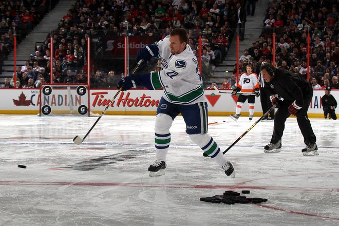 OTTAWA, ON - JANUARY 28:  Daniel Sedin #22 of the Vancouver Canucks and Team Alfredsson takes a shot during the G Series NHL Skills Challenge Relay part of the 2012 Molson Canadian NHL All-Star Skills Competition at Scotiabank Place on January 28, 2012 in Ottawa, Ontario, Canada.  (Photo by Bruce Bennett/Getty Images)