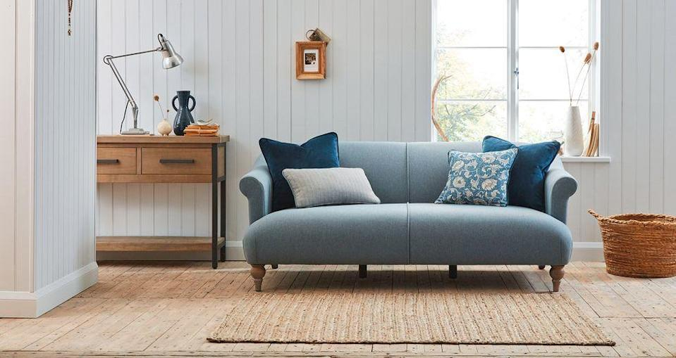 """<p>The third most sought-after colour or 2021 is classic blue. Another versatile choice, deep blue velvet sofas are luxurious, pillowy powder blue sofas are a bit more country cosy, and greener variations like a teal or sapphire, introduce richer undertones that sit well with a collection of indoor plants and natural materials.<br></p><p>Pictured: <a href=""""https://www.dfs.co.uk/charlbury/cuy13abur?skuId=4523050&origin=Exclusive_Brands"""" rel=""""nofollow noopener"""" target=""""_blank"""" data-ylk=""""slk:Country Living Charlbury Sofa at DFS"""" class=""""link rapid-noclick-resp"""">Country Living Charlbury Sofa at DFS</a></p>"""