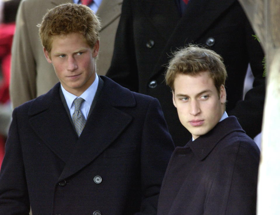 In 2003, Prince William and Prince Harry looked like they would rather have been at home digging into their Christmas dinner than waiting around outside the church. Photo: Getty Images
