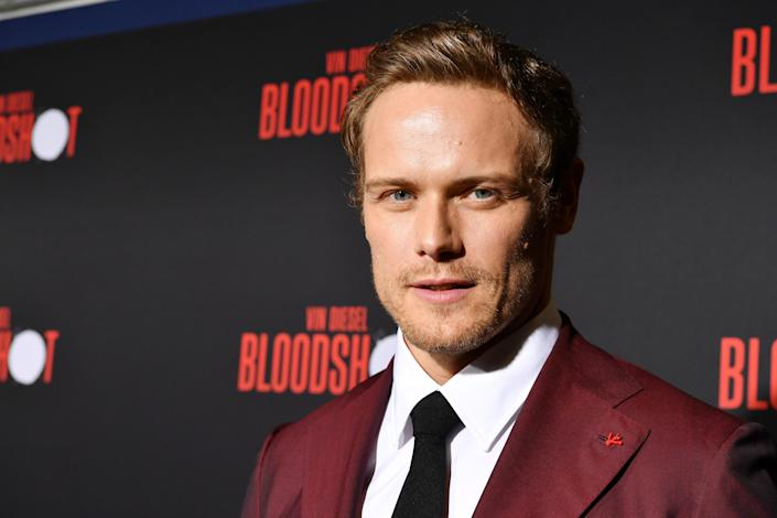 "LOS ANGELES, CALIFORNIA - MARCH 10: Sam Heughan attends the premiere of Sony Pictures' ""Bloodshot"" on March 10, 2020 in Los Angeles, California. (Photo by Amy Sussman/Getty Images)"