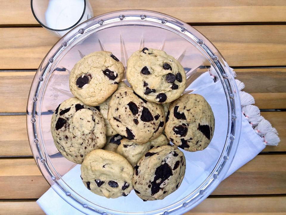"<p><strong>Recipe: </strong><a href=""http://www.southernliving.com/recipes/dark-chocolate-chip-cookies"" rel=""nofollow noopener"" target=""_blank"" data-ylk=""slk:Dark Chocolate Chip Cookies"" class=""link rapid-noclick-resp""><strong>Dark Chocolate Chip Cookies</strong></a></p> <p>We came up with a grown-up spin on the classic milk chocolate cookie that you'll love to enjoy with a cup of coffee.</p>"