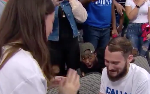 Mavericks fan to be invited to the wedding after his hilarious reaction to the proposal at the game. (Photo: Twitter)