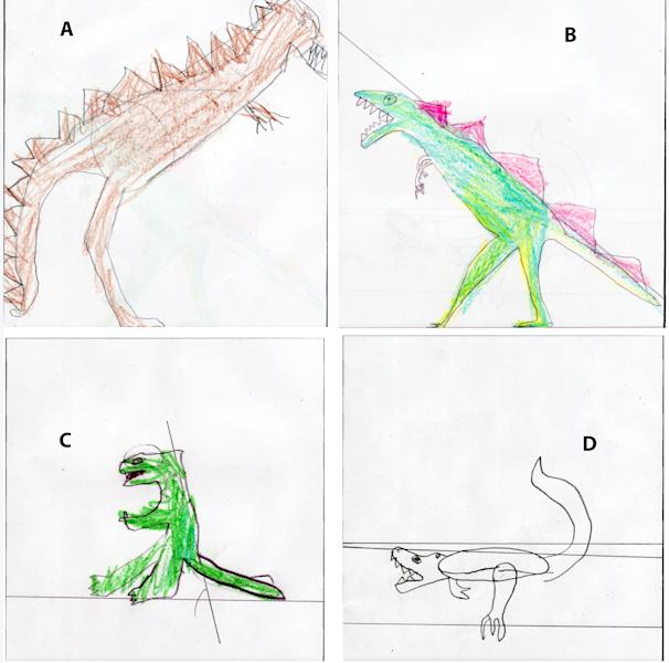 This image provided by the Paleontological Research Institution/Cornell University shows drawings of Tyrannosaurus rex dinosaurs made by pre-college students in 2008. When researchers asked college students and children to draw the animal, most gave it an upright posture instead. Why? They'd soaked up the wrong idea from toys and other pop culture items, the researchers conclude. (AP Photo/Paleontological Research Institution/Cornell University)