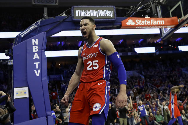 76ers guard Ben Simmons wants to meet with Lakers president Magic Johnson this summer for advice on his game. (AP/Matt Slocum)