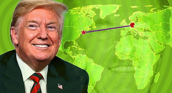 Donald Trump with a map marking New York City and Germany. Background: Fred Trump. (Photo illustration: Yahoo News; photos: AP (3), Getty Images)
