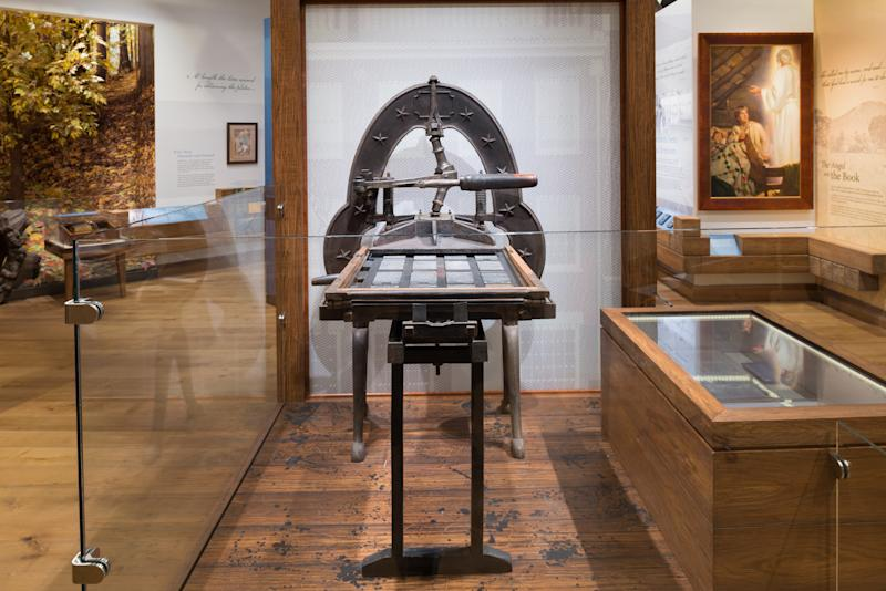 The Grandin printing press that was used to produce the first 5,000 copies of the Book of Mormon in Palmyra, New York, is on display.  (Intellectual Reserve Inc)