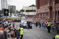 The procession of the former Rangers player passes Ibrox. (Photo by Jane Barlow/PA Images via Getty Images)