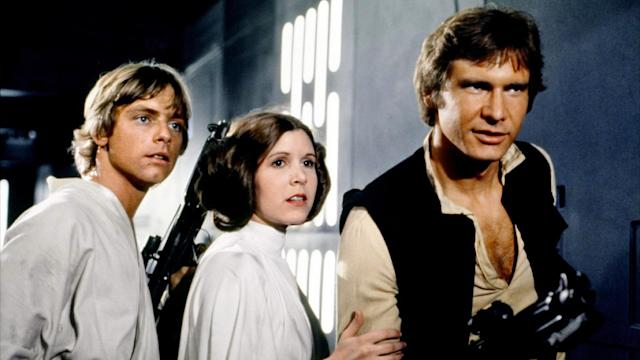 Mark Hamill, Carrie Fisher and Harrison Ford in 'Star Wars: A New Hope' (credit: Disney)