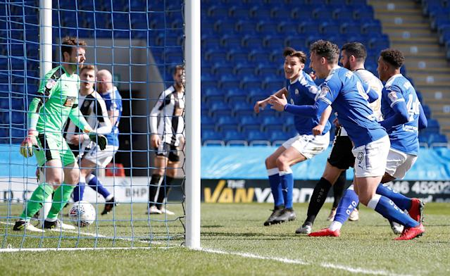 "Soccer Football - League Two - Chesterfield vs Notts County - Proact Stadium, Chesterfield, Britain - March 25, 2018 Chesterfield's Sid Nelson scores his sides first goal Action Images/Craig Brough EDITORIAL USE ONLY. No use with unauthorized audio, video, data, fixture lists, club/league logos or ""live"" services. Online in-match use limited to 75 images, no video emulation. No use in betting, games or single club/league/player publications. Please contact your account representative for further details."