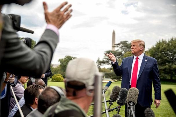 PHOTO: President Donald Trump takes a question from a reporter on the South Lawn of the White House, Sept. 9, 2019, before boarding Marine One for a short trip to Andrews Air Force Base, Md. (Andrew Harnik/AP)