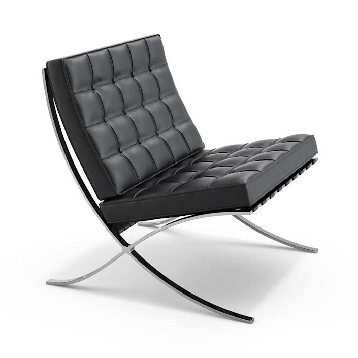 """<p><strong>Ludwig Mies van der Rohe</strong></p><p>knoll.com</p><p><strong>$6479.00</strong></p><p><a href=""""https://go.redirectingat.com?id=74968X1596630&url=https%3A%2F%2Fwww.knoll.com%2Fproduct%2Fbarcelona-chair&sref=https%3A%2F%2Fwww.redbookmag.com%2Fbeauty%2Fg37132432%2Fchair-types-styles-designs%2F"""" rel=""""nofollow noopener"""" target=""""_blank"""" data-ylk=""""slk:Shop Now"""" class=""""link rapid-noclick-resp"""">Shop Now</a></p><p>When tasked with furnishing the German pavilion at the 1929 Barcelona International Exposition, German-American architect Mies van der Rohe conceived a chair fit for royalty—but in keeping with his modernist aesthetic. The leather-and-chrome seat (and accompanying ottoman) have been produced by Knoll ever since. </p>"""
