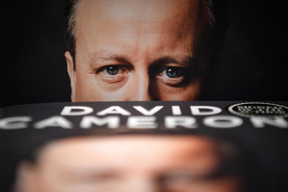 """LONDON, ENGLAND - SEPTEMBER 19: Copies of """"For The Record"""", the autobiography of Britain's former Prime Minister David Cameron, is seen on display in Waterstones book store on September 19, 2019 in London, United Kingdom. """"For The Record"""" By David Cameron goes on sale today ahead of Conservative Party Conference next week. (Photo by Leon Neal/Getty Images)"""
