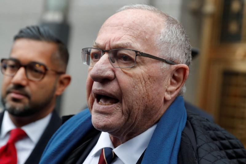 Alan Dershowitz leaves the Manhattan Federal Court in New York