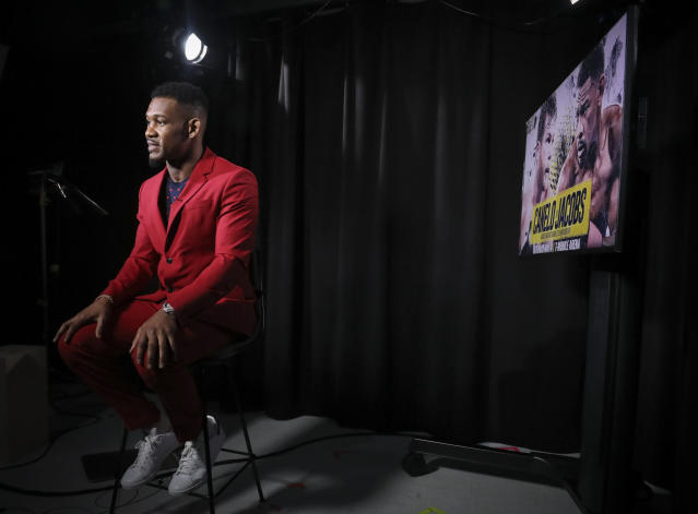 IBF middleweight champion Daniel Jacobs speaks during an interview, Thursday Feb. 28, 2019, in New York. Jacobs is slated to fight Canelo Alvarez in a middleweight title unification bout in Las Vegas, on Saturday May, 4, 2019. (AP Photo/Bebeto Matthews)